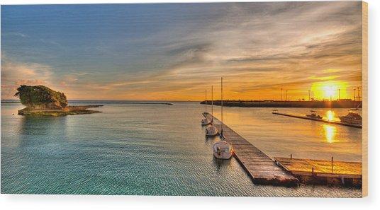 Kadena Marina Sunset Wood Print by Chris Rose