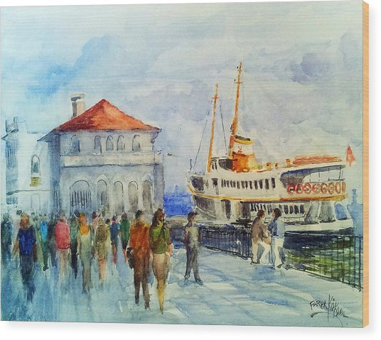 Kadikoy Ferry Arrives Wood Print