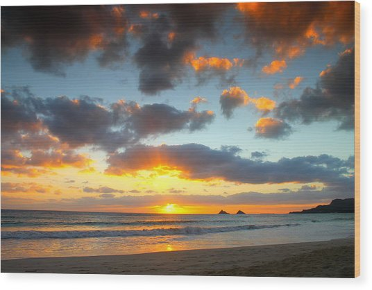 Kailua Beach Sunrise Wood Print