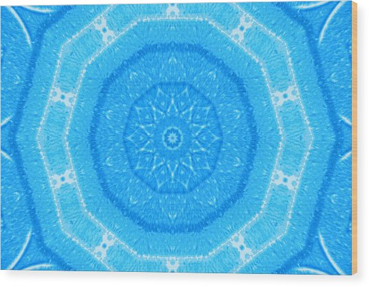 Kaleidoscope Blues Wood Print by Paulette Maffucci