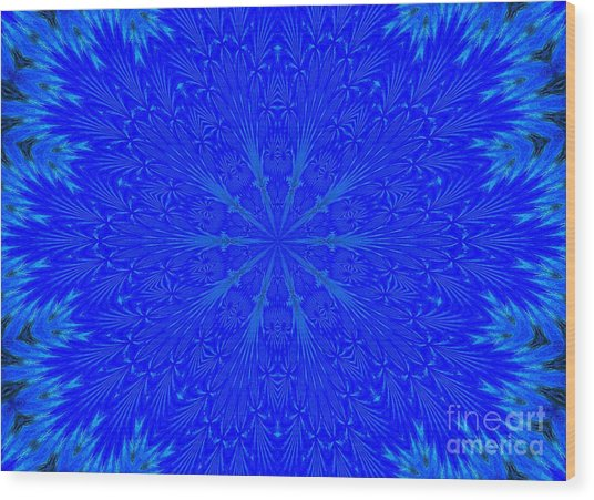 Kaleidoscope Blues Wood Print