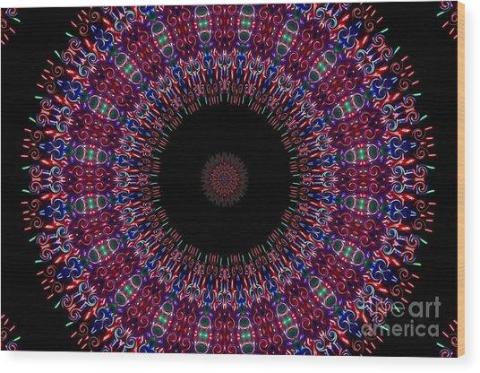 Kaleidoscope Fireworks Wood Print