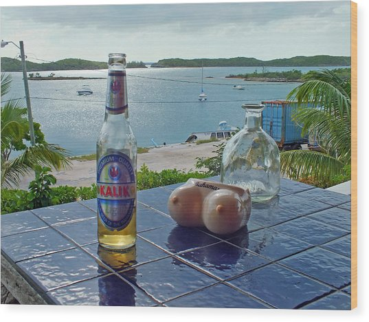 Kalik Beer Bottle At The Front Porch Wood Print