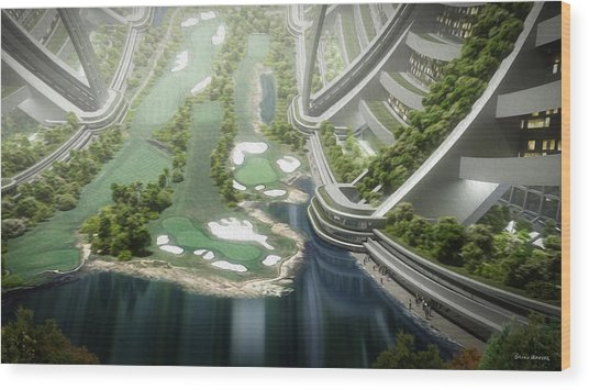 Wood Print featuring the digital art Kalpana One Golf Course by Bryan Versteeg