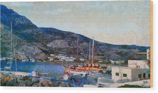 Kamares Port Wood Print by Laurence Canter