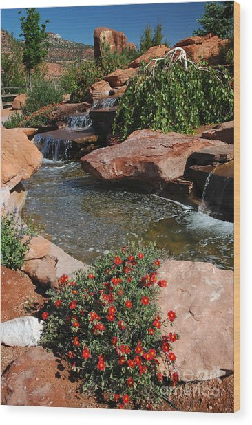 217p Kanab Ut Water Feature Wood Print