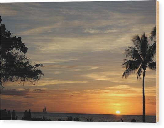 Kanapali Sunset Wood Print