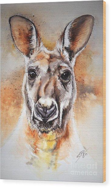 Kangaroo Big Red Wood Print