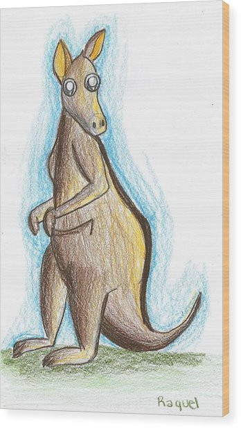 Kangaroo From Down Under Wood Print by Raquel Chaupiz