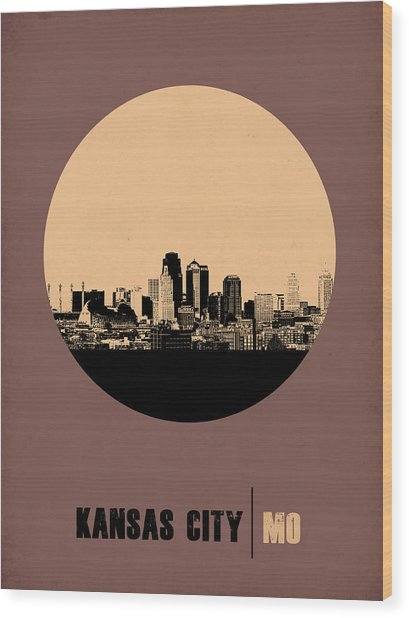 Kansas City Circle Poster 2 Wood Print