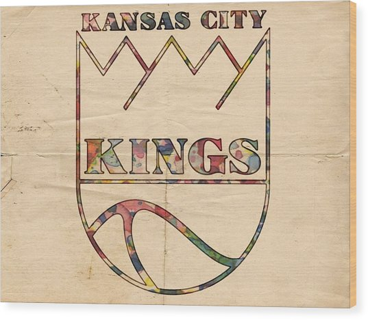 Kansas City Kings Retro Poster Wood Print
