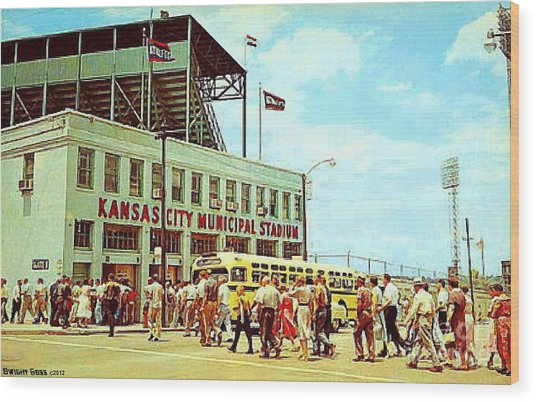 Kansas City Municipal Stadium In The 1950's Wood Print