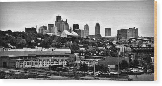 Kansas City Skyline And Roundhouse Bw Wood Print by Elizabeth Sullivan