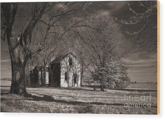 Kansas Farm House I Wood Print