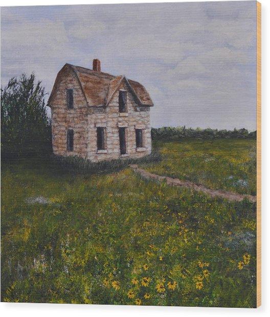Kansas Stone House Wood Print