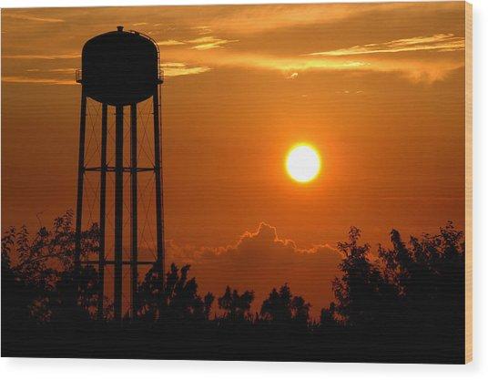 Kansas Sunset Wood Print