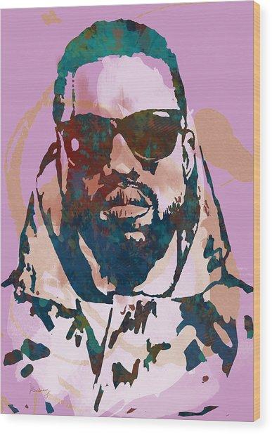 Kanye West Net Worth - Stylised Pop Art Drawing Potrait Poster Wood Print