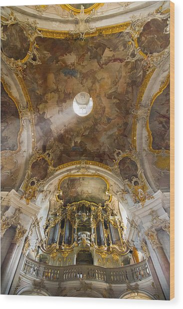 Kappele Wurzburg Organ And Ceiling Wood Print