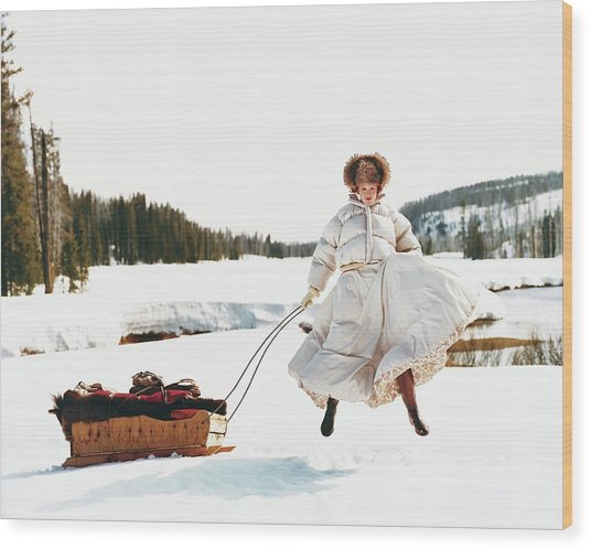 Karen Elson In The Snow Wood Print