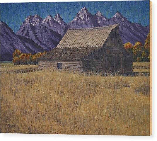 Karen's Teton Barn Wood Print