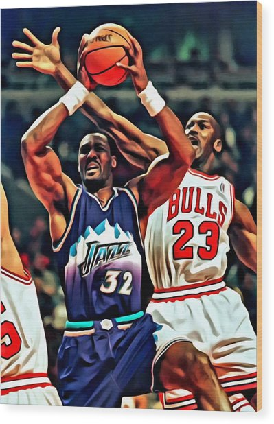 Karl Malone Vs. Michael Jordan Wood Print