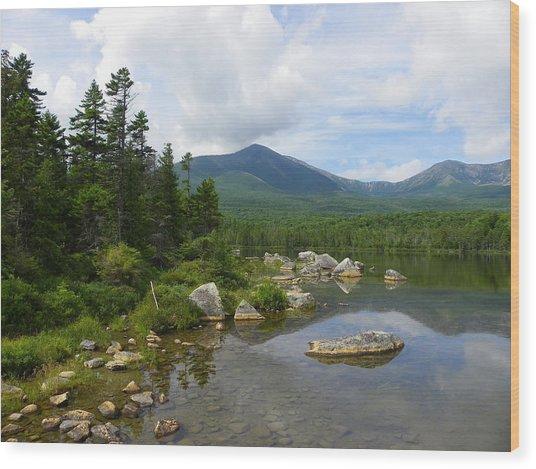 Katahdin And Sandy Stream Pond Wood Print