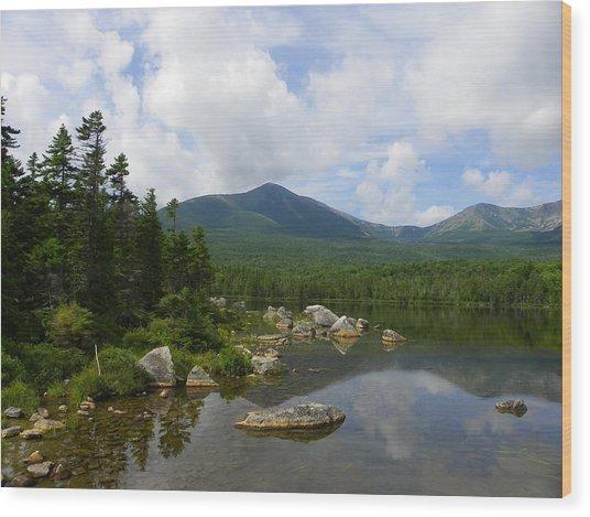 Katahdin At Sandy Stream Pond 1 Wood Print