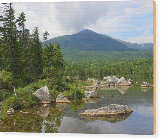 Katahdin Framed At Sandy Stream Pond Wood Print