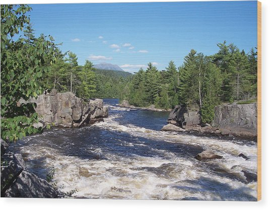 Katahdin From The Crib On The West Branch Wood Print
