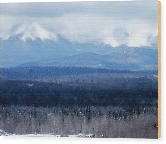Katahdin Snow Wood Print