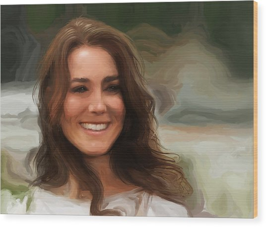 Wood Print featuring the painting Kate Middleton by Jennifer Hotai