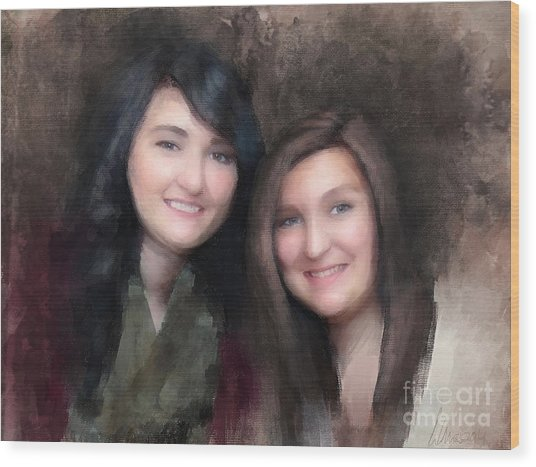 Katie And Sara Wood Print