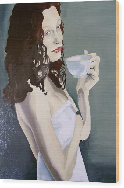 Katie - Morning Cup Of Tea Wood Print