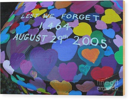 Katrina Casket Memorial Inscription Wood Print