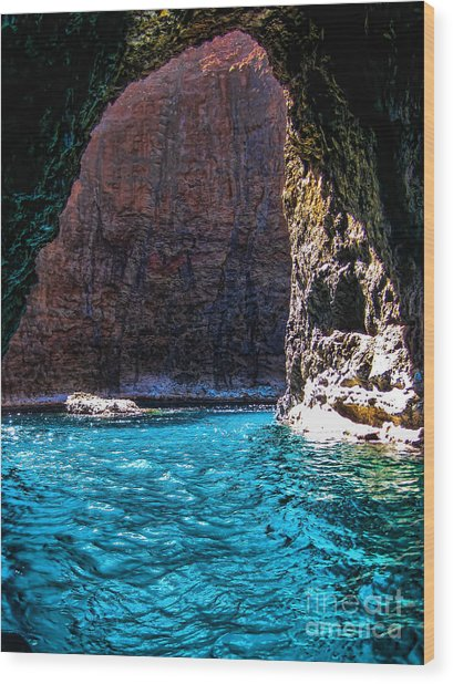 Kauai Sea Cave Wood Print by Baywest Imaging