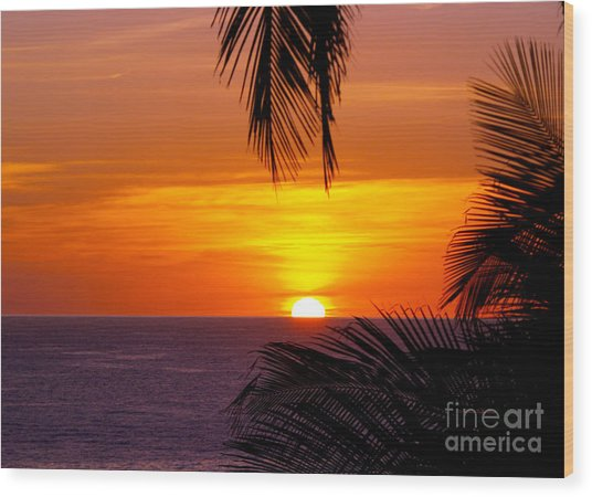 Kauai Sunset Wood Print