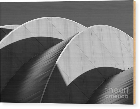 Kauffman Center Curves And Shadows Black And White Wood Print