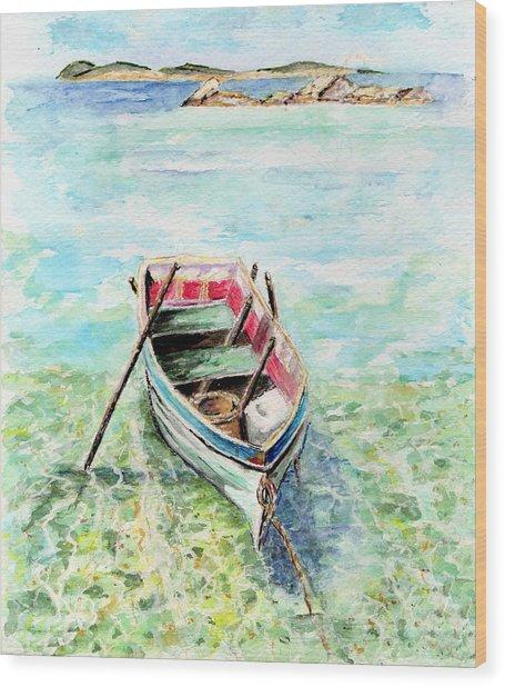 Kavala Row Boat Wood Print