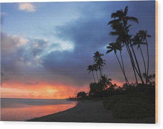 Kawaikui Sunset 2 Wood Print
