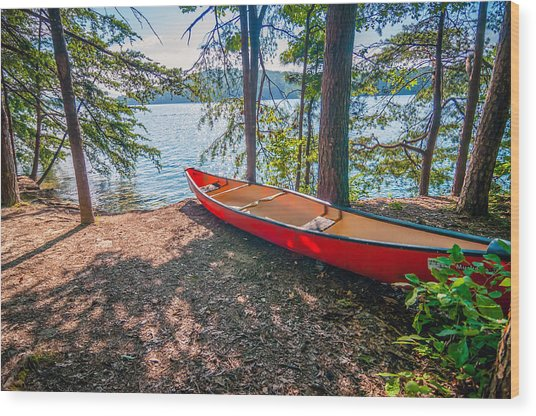 Kayak By The Water Wood Print