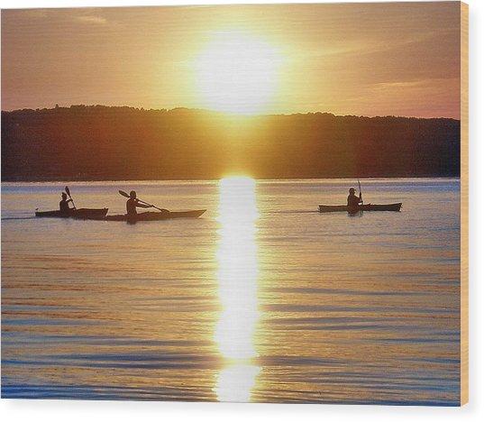 Kayak Family Wood Print by Bill Noonan