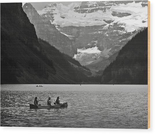 Kayak On Lake Louise Wood Print
