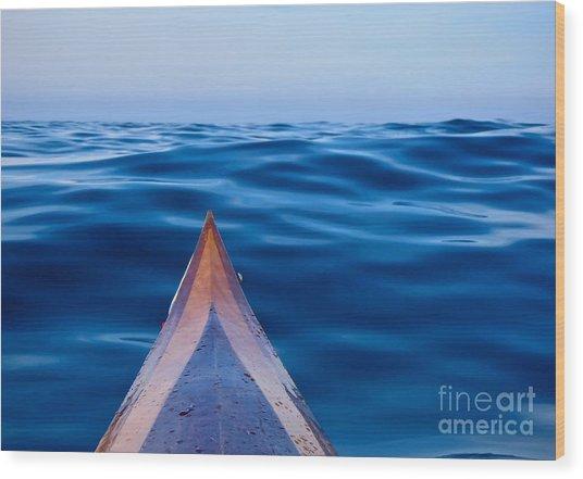 Kayak On Velvet Blue Wood Print