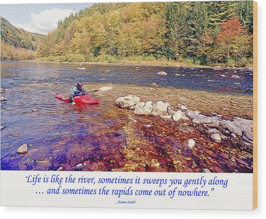 Kayaker Running A River Wood Print