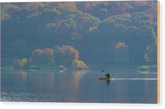 Kayaking Wood Print by ??? / Austin