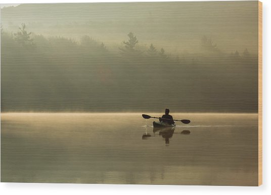 Kayaking At Sunup Wood Print