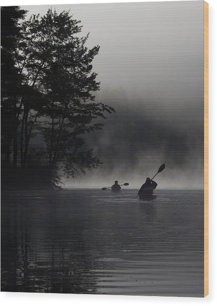 Kayaking In The Fog Wood Print