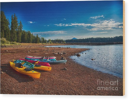 Kayaking On Howard Prairie Lake In Oregon Wood Print