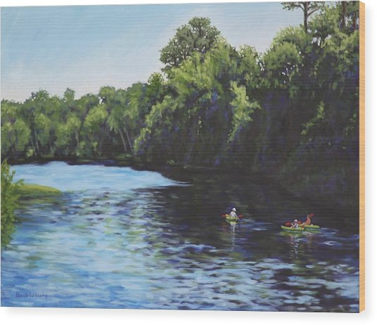 Kayaks On Rainbow River Wood Print