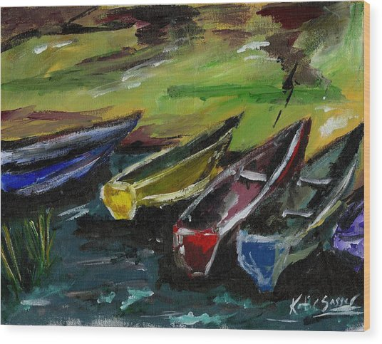 Kazinga Channel Boats Wood Print